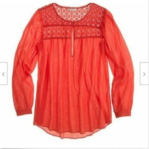 J.Crew 14 L Embroidered Gauze Top Tunic Red